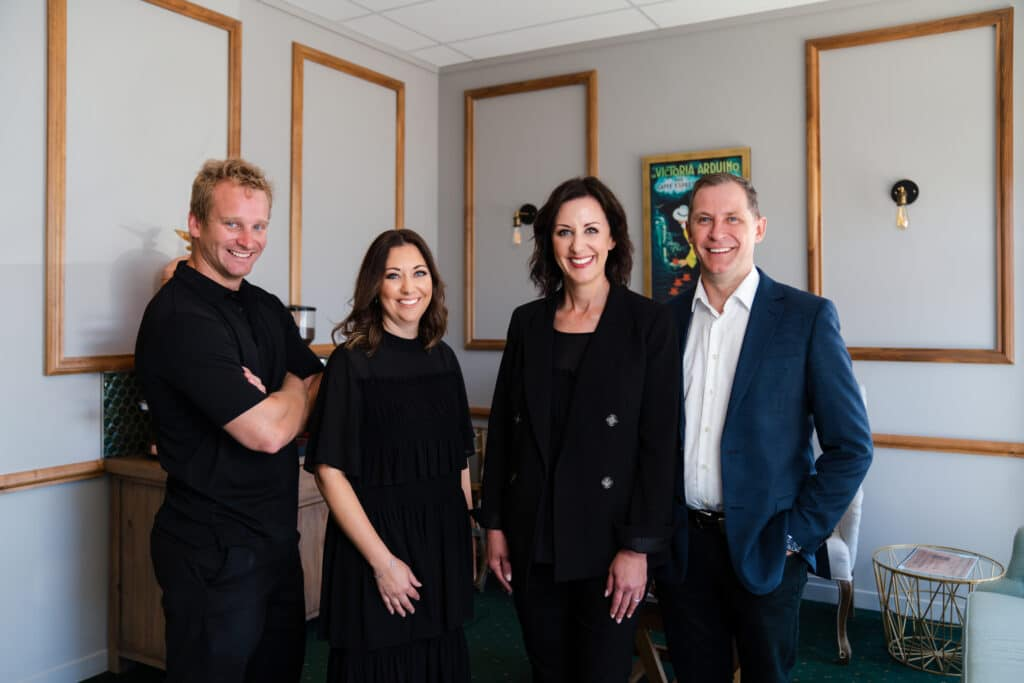 Dr. James Eastcott (shareholder in Omokoroa Dental Surgery), Corleah Willats (operations manager ER Dental Group), Dr. Estee Kriek and Dr. Riaan Kriek